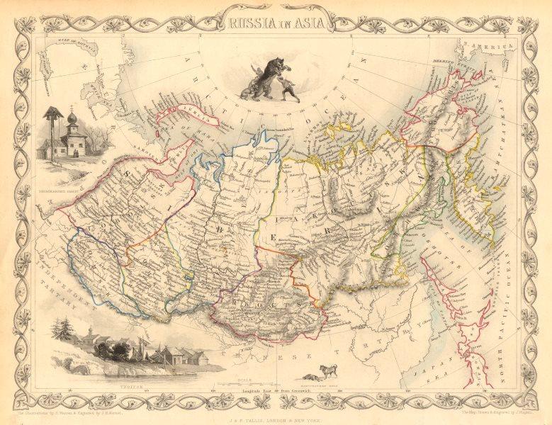 Associate Product RUSSIA IN ASIA. Oblasts Districts.Siberia Urals Far East. RAPKIN/TALLIS 1851 map