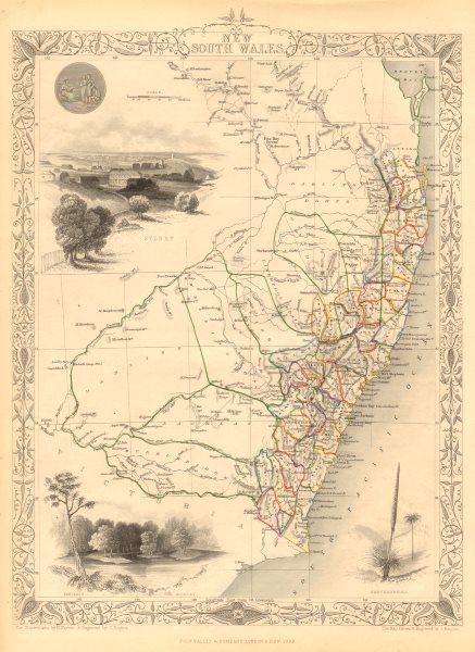 Associate Product NEW SOUTH WALES. w/ Mitchell/Leichhardt explorers routes. RAPKIN/TALLIS 1851 map