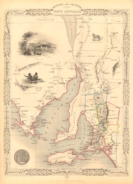 PART OF SOUTH AUSTRALIA. Shows mining districts. TALLIS & RAPKIN 1851 old map