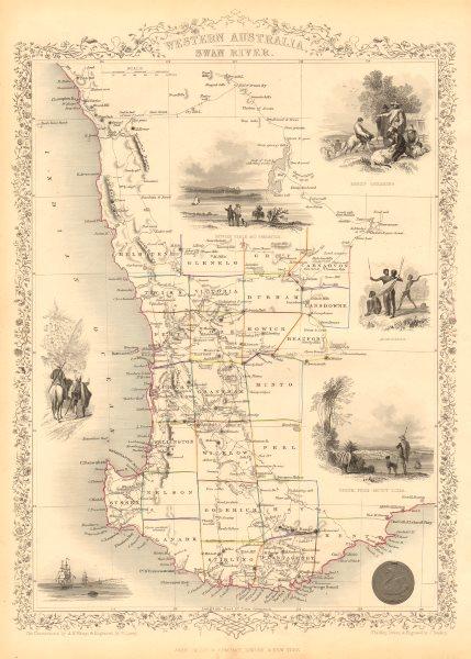 Associate Product WESTERN AUSTRALIA,SWAN RIVER.Helpman Gregory Gray routes. RAPKIN/TALLIS 1851 map