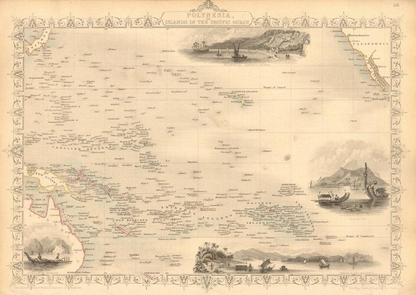 Associate Product POLYNESIA/PACIFIC ISLANDS. inc Sandwich/Hawaiian islands. RAPKIN/TALLIS 1851 map