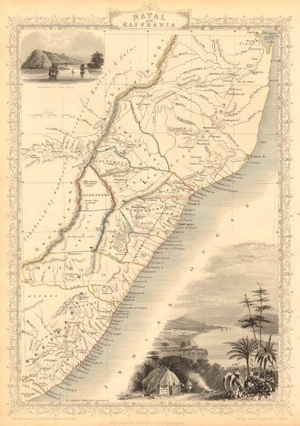 Associate Product NATAL & KAFFRARIA. Eastern Cape. Durban. South Africa TALLIS & RAPKIN 1851 map