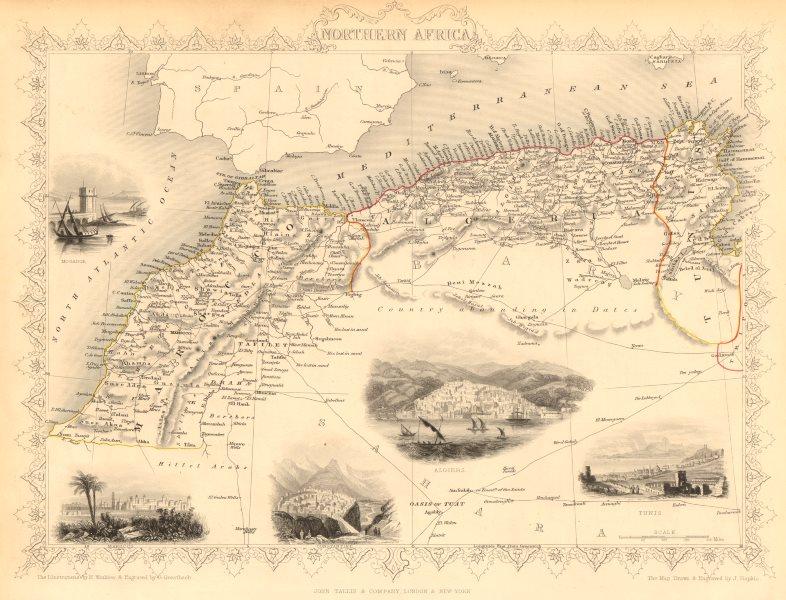 Associate Product NORTHERN AFRICA. Morocco Tunisia Algeria. Caravan routes. RAPKIN/TALLIS 1851 map