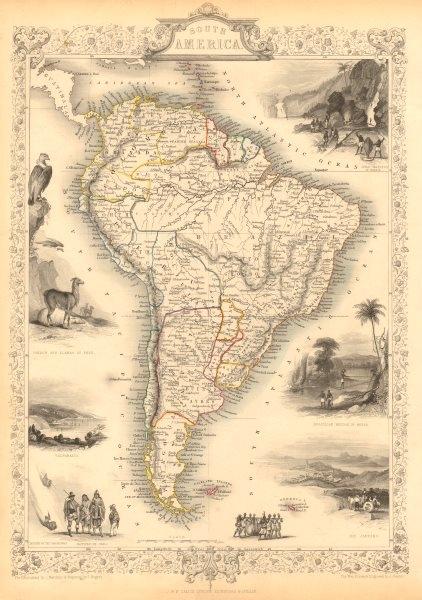 SOUTH AMERICA. Peru–Bolivian Confederacy. Gran Colombia. RAPKIN/TALLIS 1851 map