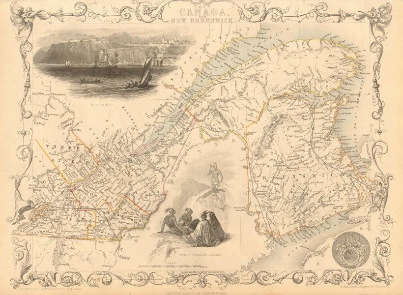 Associate Product EAST CANADA & NEW BRUNSWICK. Quebec. Québec city view. TALLIS & RAPKIN 1851 map