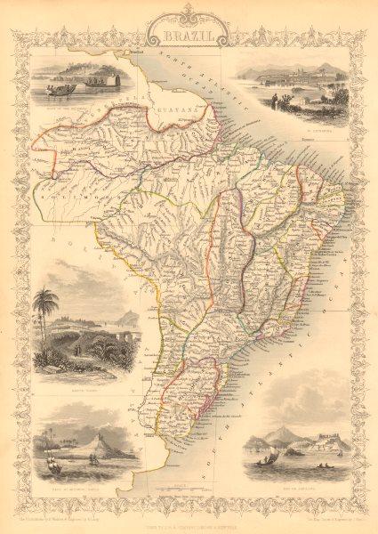 Associate Product BRAZIL. Uruguay as part of Brazil. Rio de Janeiro view TALLIS & RAPKIN 1851 map