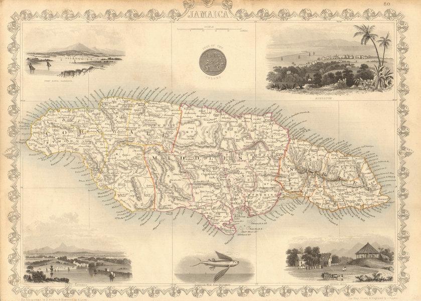 Associate Product JAMAICA. Counties/parishes. Sugar Mill & Kingston views. RAPKIN/TALLIS 1851 map