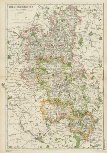 Associate Product BUCKINGHAMSHIRE. Showing Parliamentary divisions,boroughs & parks.BACON 1934 map