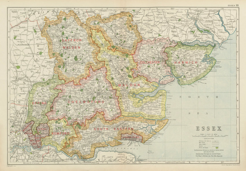 Associate Product ESSEX. Showing Parliamentary divisions, boroughs & parks. BACON 1934 old map