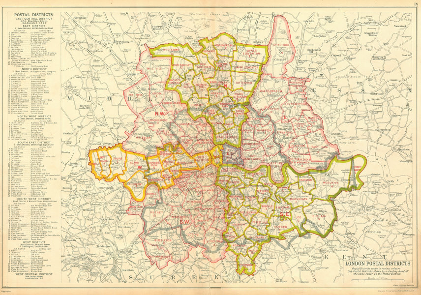 Districts Of London Map.Details About London Postal Districts Post Code Areas N Nw W Sw Se E Bacon 1934 Old Map