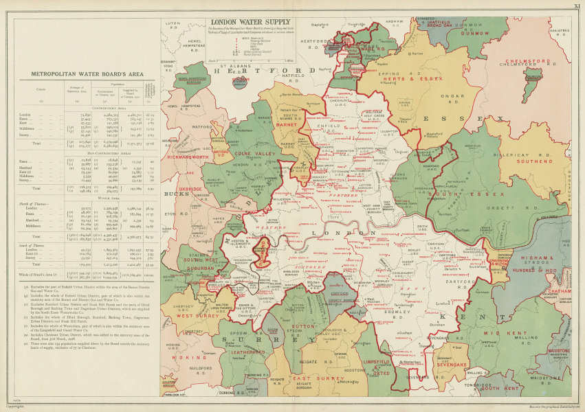 Associate Product LONDON WATER SUPPLY. Metropolitan Water Board. Reservoirs Pumping Stns 1934 map