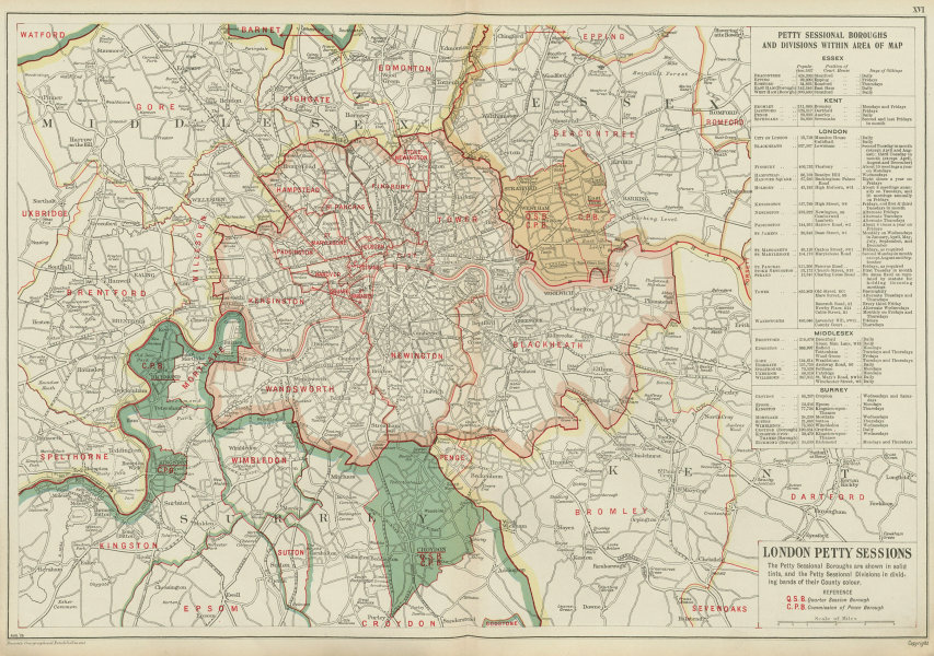 Associate Product LONDON PETTY SESSIONS/sessional boroughs/divisions. Law. Courts. BACON 1934 map