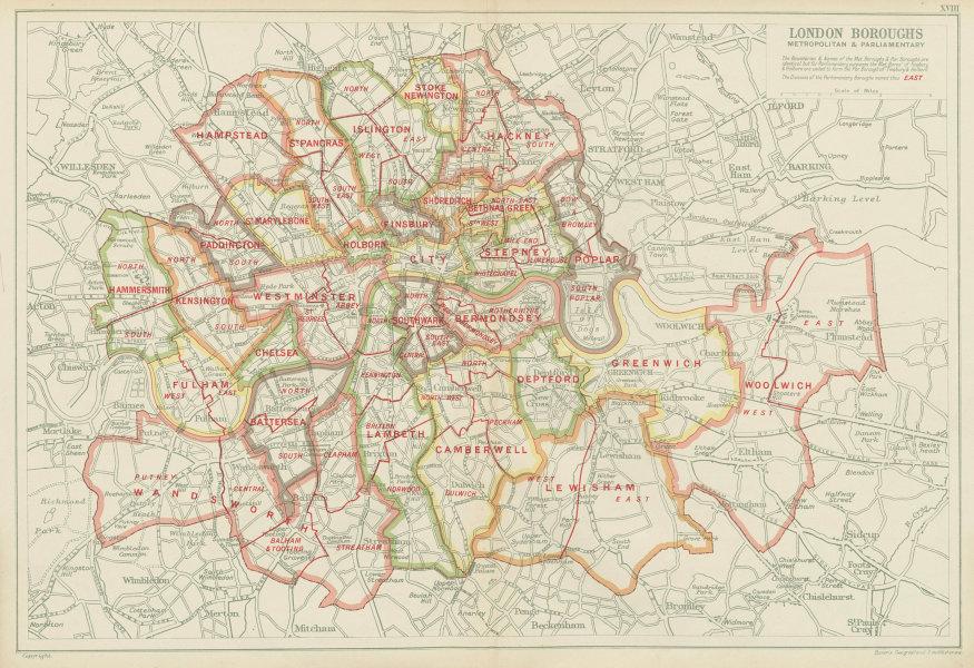Associate Product LONDON BOROUGHS. Metropolitan & Parliamentary. Consistiuencies. BACON 1934 map