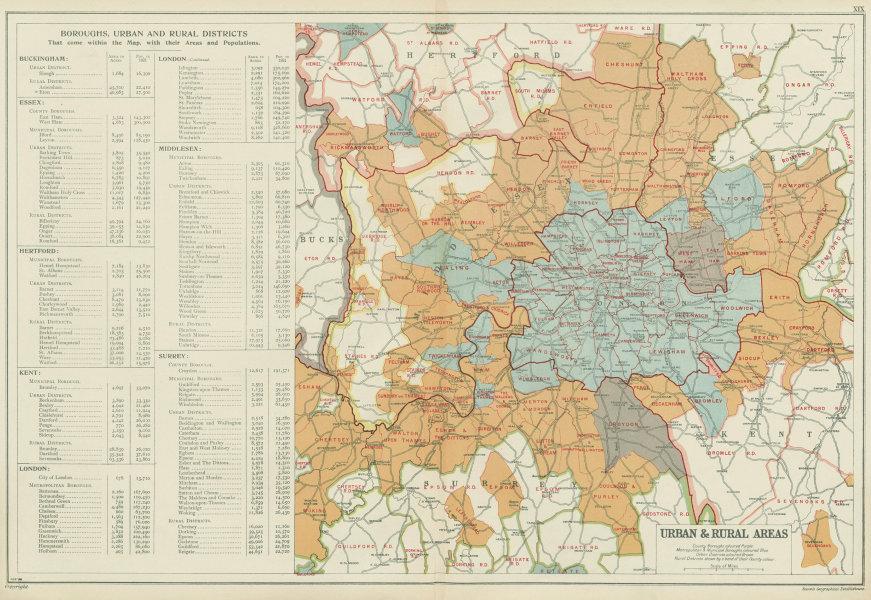 LONDON showing Municipal Boroughs, Urban Districts & Rural areas. BACON 1934 map