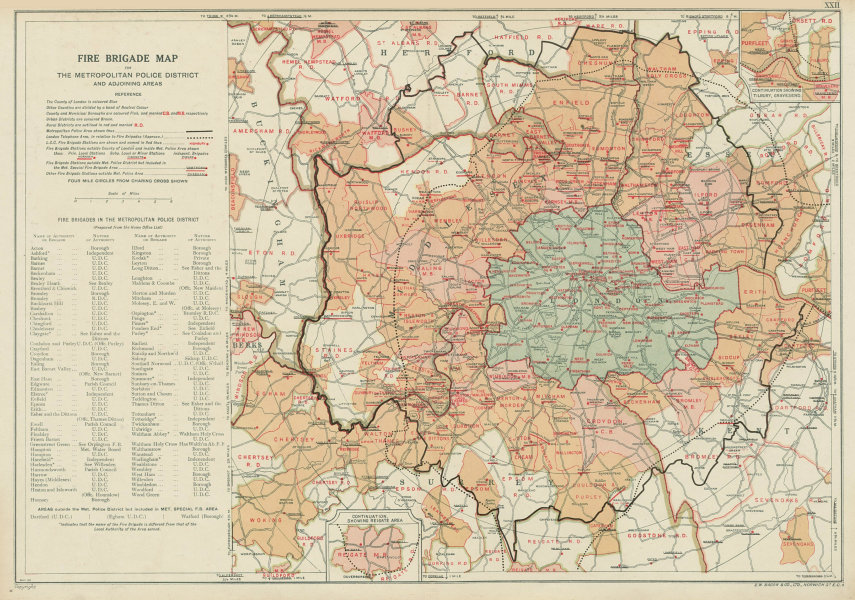Associate Product LONDON FIRE BRIGADE. Showing Fire Brigade Stations. Vintage map. BACON 1934