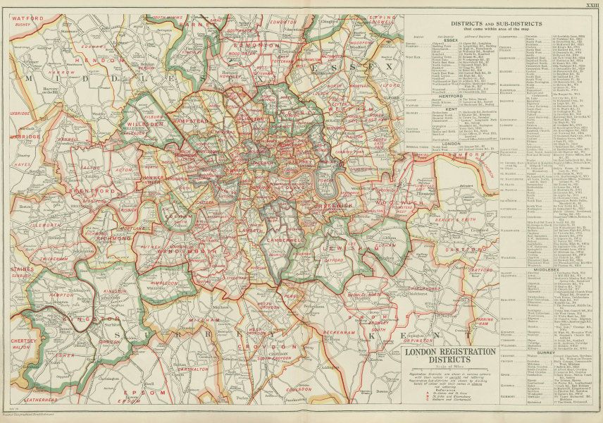 Districts Of London Map.Details About London Registration Districts Sub Districts County Of London Bacon 1934 Map