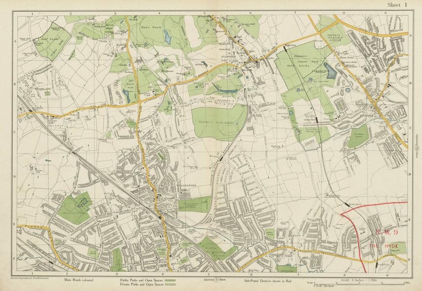 Associate Product STANMORE Wealdstone Edgware Pinner North Harrow Kenton The Hyde. BACON 1934 map