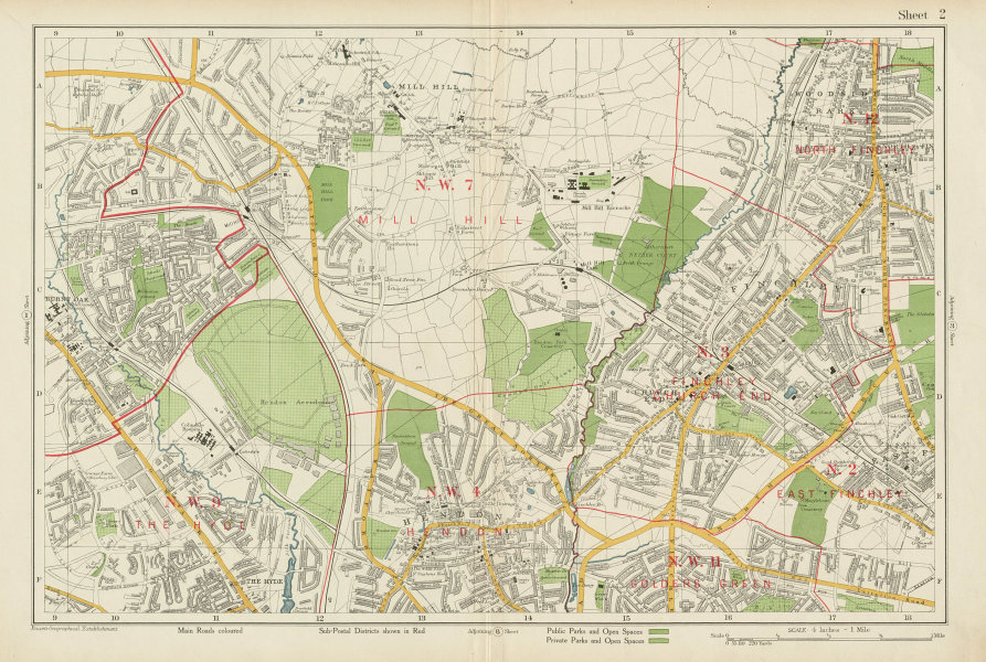 Associate Product FINCHLEY/HENDON Mill Hill Hyde Golders Green Edgware Colindale. BACON 1934 map