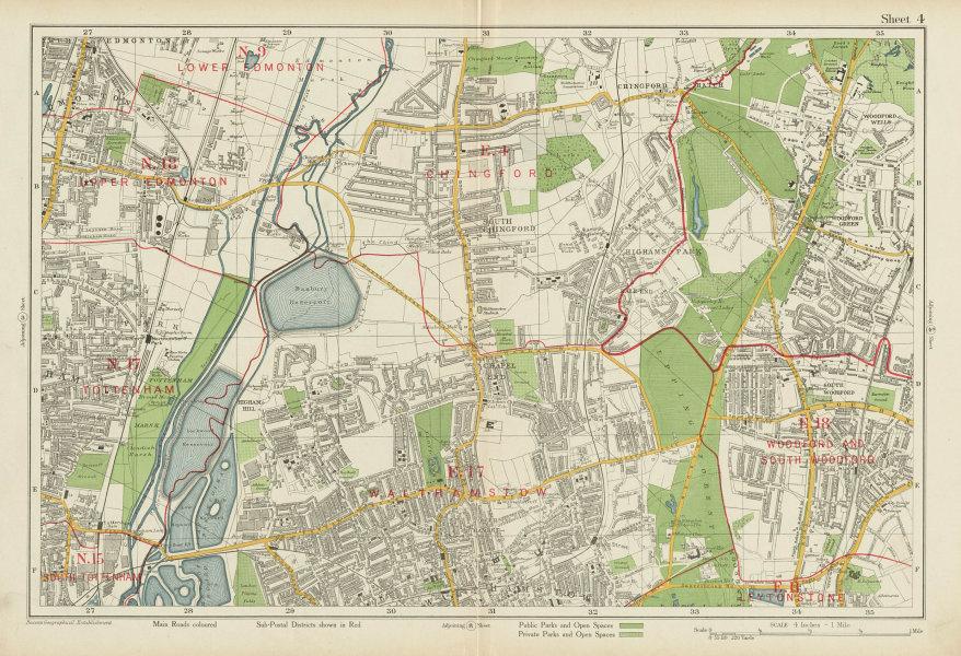 Associate Product NE LONDON Chingford Walthamstow Edmonton Tottenham Woodford. BACON 1934 map