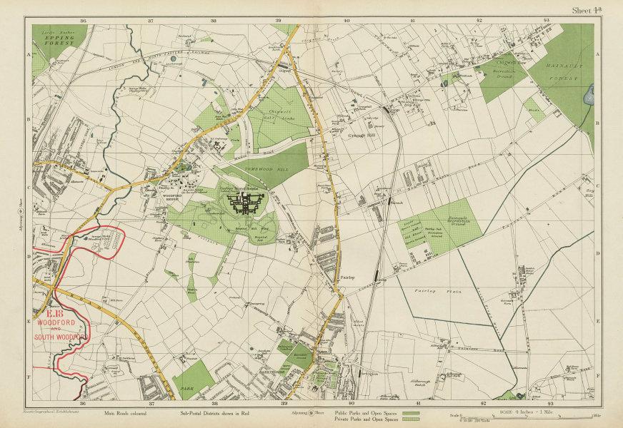 Associate Product NE LONDON Woodford Bridge Chigwell Fairlop Barkingside Hainault. BACON 1934 map