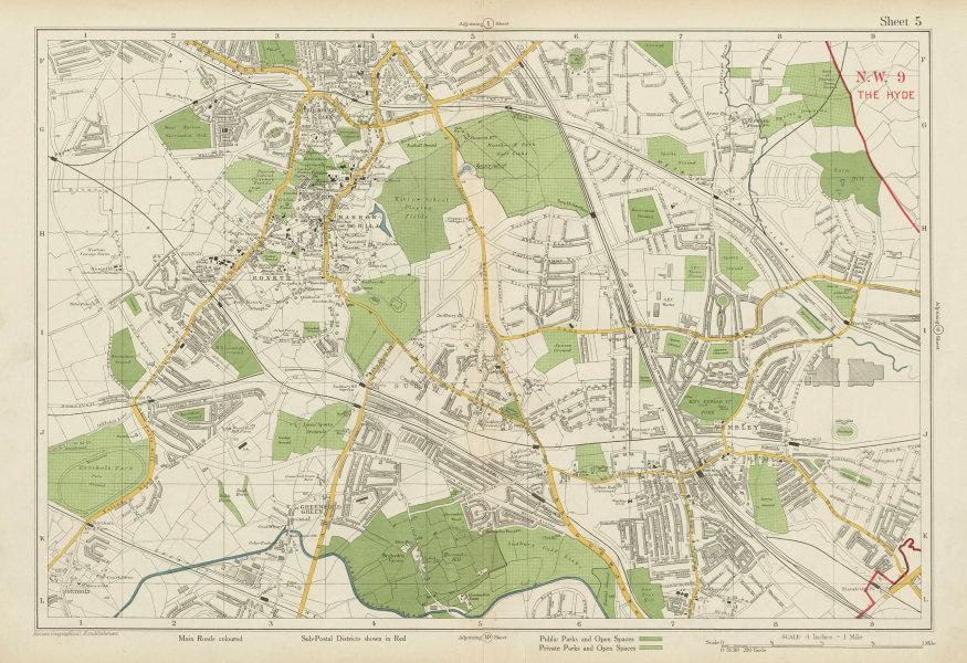 Associate Product NW LONDON Wembley Harrow on the Hill Kenton Northolt Sudbury. BACON 1934 map