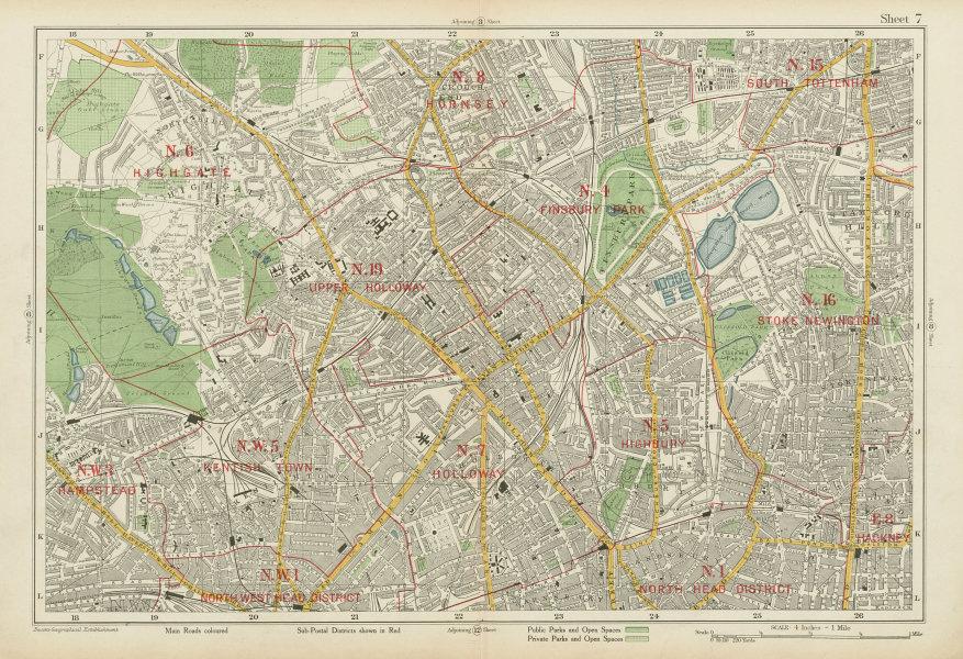 Associate Product N LONDON Finsbury Park Highgate Holloway Stoke Newington Camden. BACON 1934 map