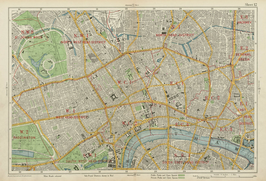 Associate Product LONDON CENTRAL Westminster West End City Islington Southwark. BACON 1934 map