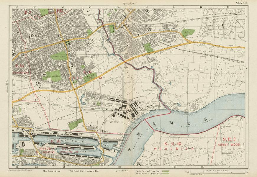 Associate Product EAST HAM BARKING Plaistow Royal Docks North Woolwich Beckton. BACON 1934 map