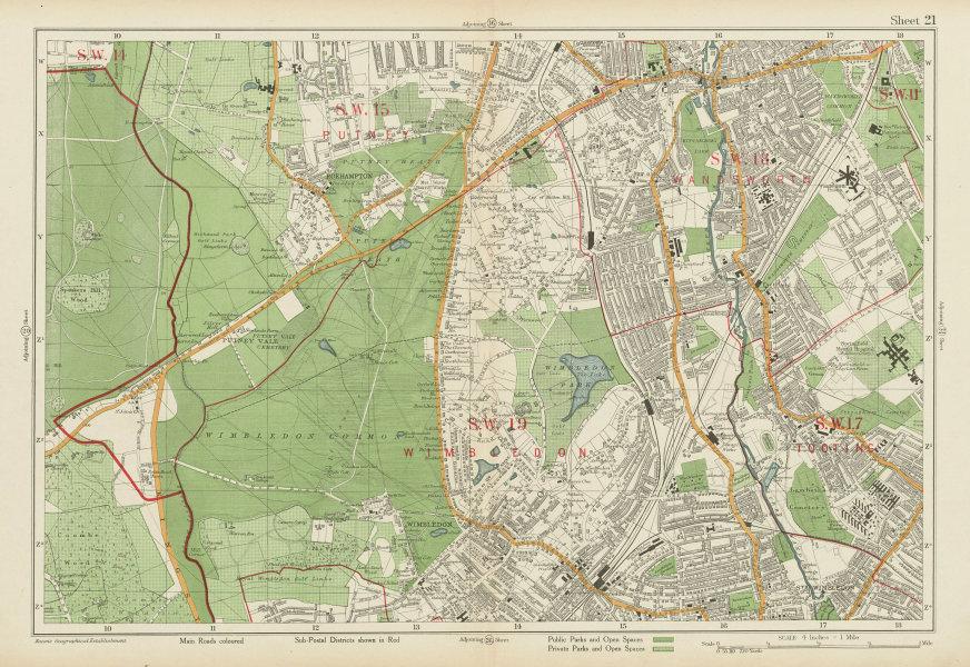 Associate Product WIMBLEDON. Putney Tooting Wandsworth Richmond Park Roehampton. BACON 1934 map