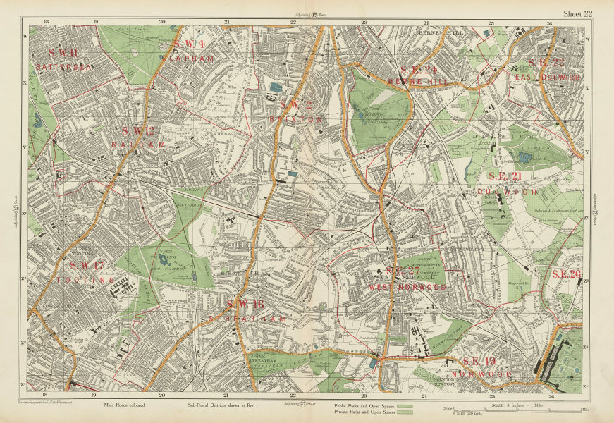 Associate Product STREATHAM W Norwood Brixton Balham Tooting Dulwich Herne Hill. BACON 1934 map