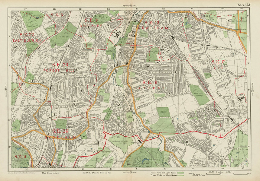 Associate Product CATFORD Brockley Lee Lewisham East Dulwich Forest Hill Sydenham. BACON 1934 map