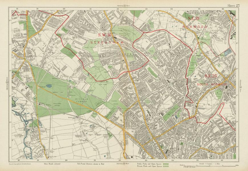 Associate Product STREATHAM CROYDON MITCHAM South Norwood Thornton Heath Woodside. BACON 1934 map