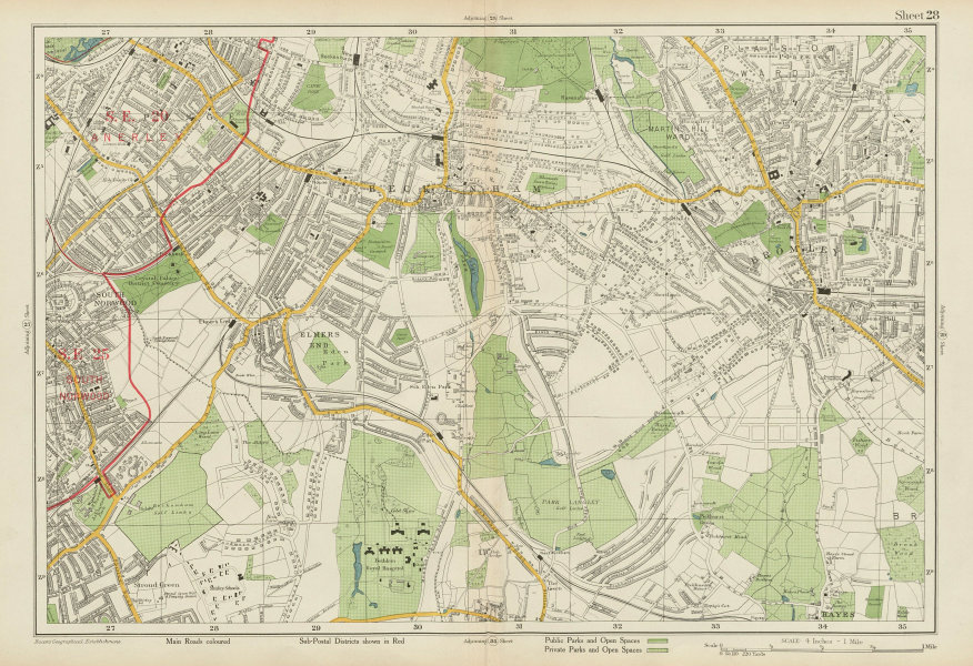 Associate Product BECKENHAM Bromley Penge South Norwood West Wickham Anerley. BACON 1934 old map