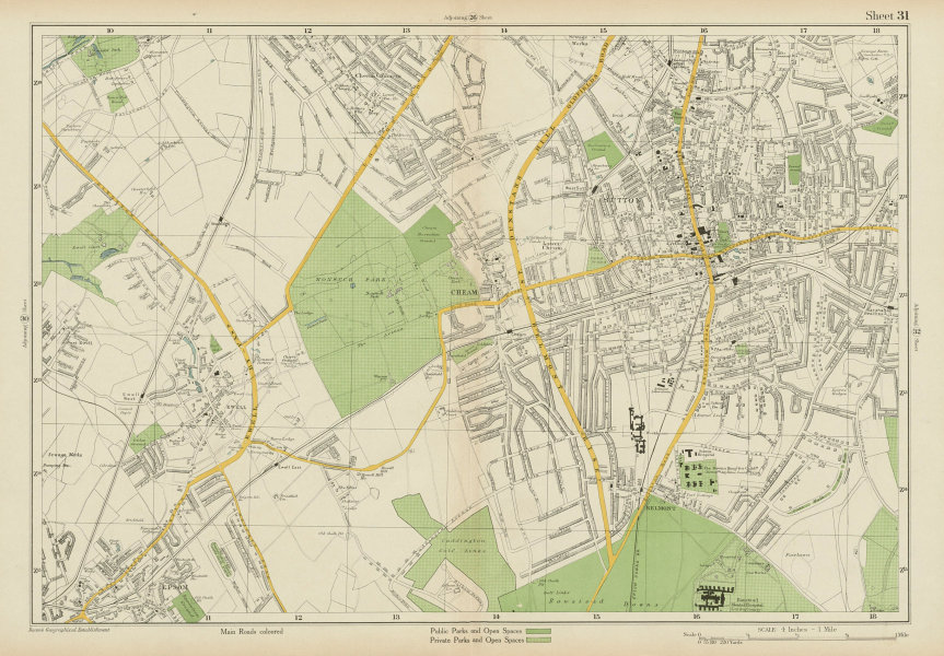 Associate Product SUTTON Cheam Epsom Belmont Carshalton Ewell Banstead Downs. BACON 1934 old map