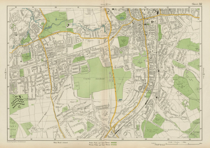 Associate Product SOUTH CROYDON Carshalton Wallington Waddon Beddington Purley. BACON 1934 map