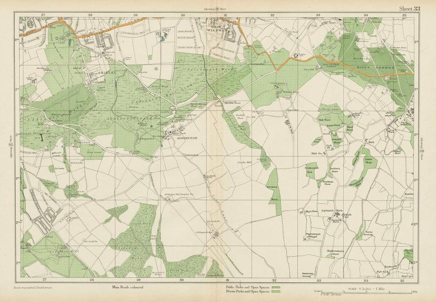 Associate Product EAST CROYDON Selsdon West Wickham New Addington Hayes Shirley. BACON 1934 map