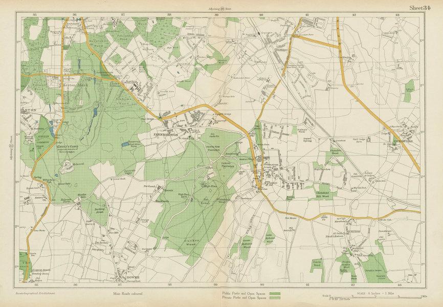 Associate Product ORPINGTON Farnborough Keston Mark Pratt's Bottom Chelsfield. BACON 1934 map