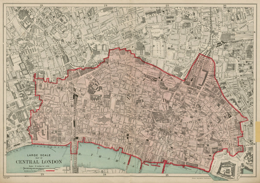 Associate Product The CITY OF LONDON. The Square Mile. BACON 1919 old antique map plan chart