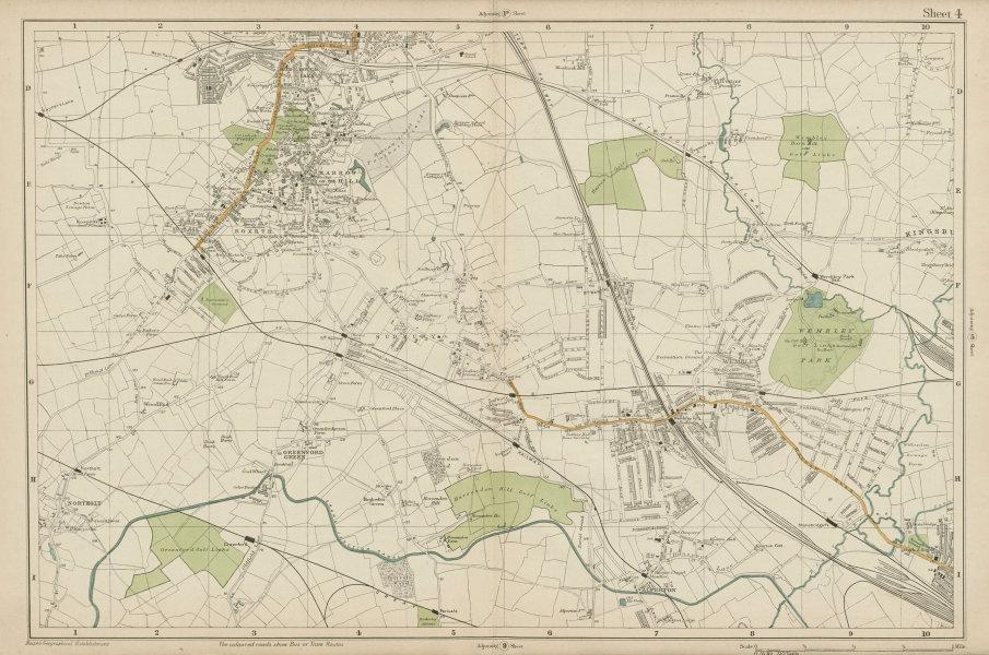 Associate Product HARROW WEMBLEY BRENT Sudbury Greenford Northolt Kenton Alperton. BACON  1919 map