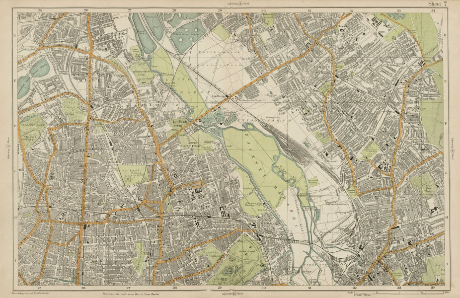 Associate Product HACKNEY STRATFORD LEYTON/STONE STOKE NEWINGTON Clapton Dalston. BACON  1919 map