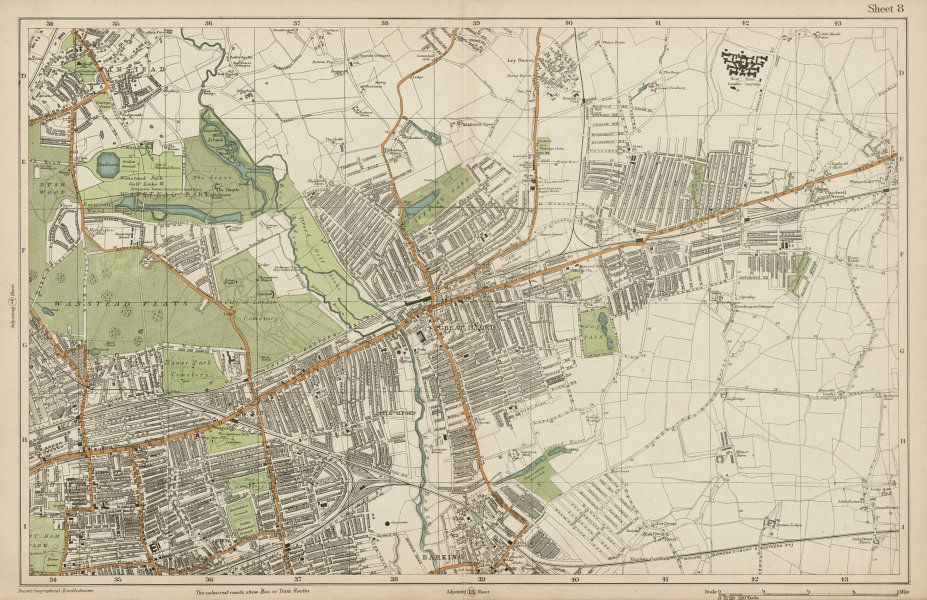 Associate Product WANSTEAD ILFORD BARKING Forest Gate Seven Kings Chadwell Heath. BACON  1919 map