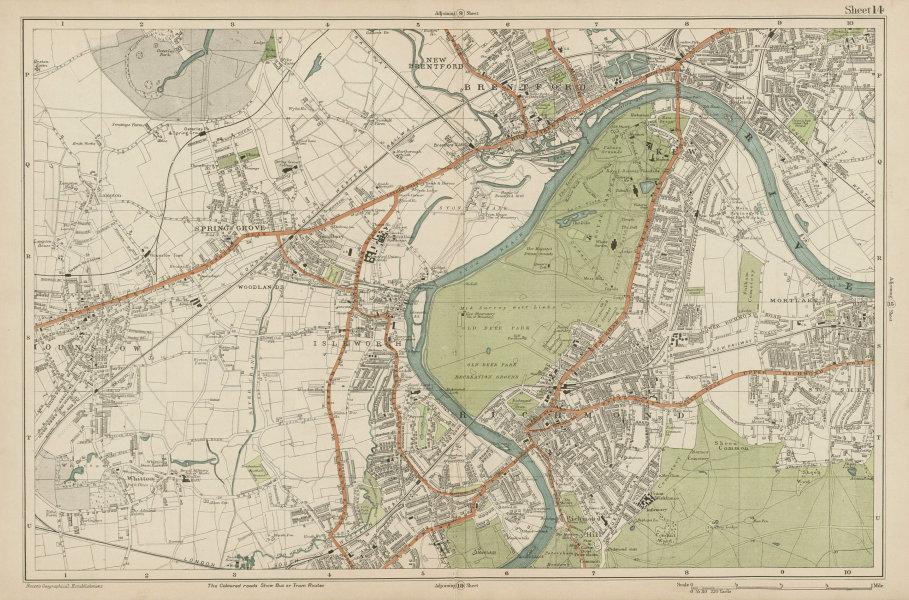 Associate Product RICHMOND/HOUNSLOW Kew Isleworth Brentford Spring Grove Mortlake. BACON  1919 map