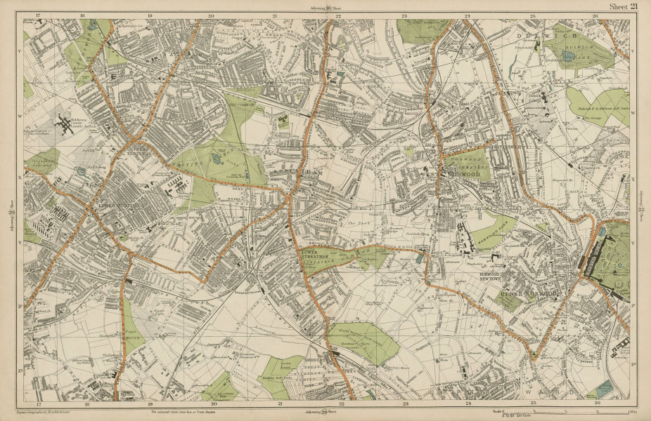 Associate Product STREATHAM Mitcham Balham Tooting Streatham Norwood Dulwich. BACON  1919 map