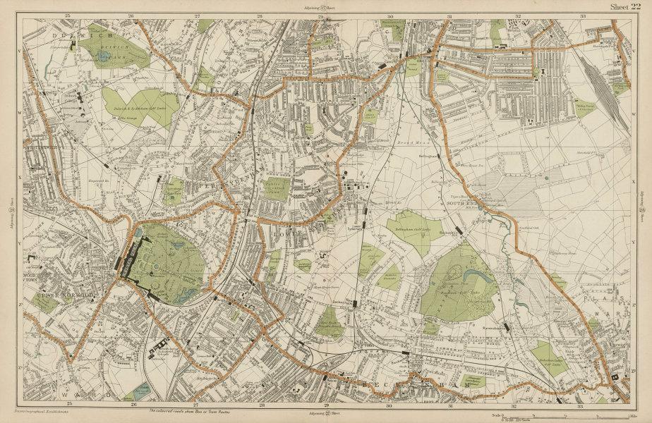 Associate Product LONDON Sydenham Penge Beckenham Catford Norwood Dulwich Lewisham BACON  1919 map