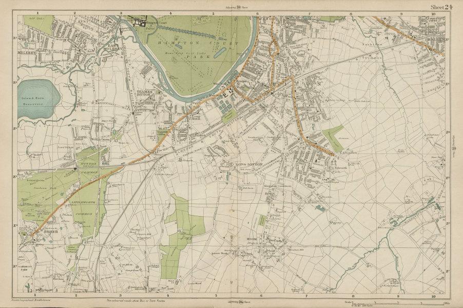 Associate Product SURBITON & ESHER Hampton Court East Molesey Thames Ditton Hook. BACON  1919 map