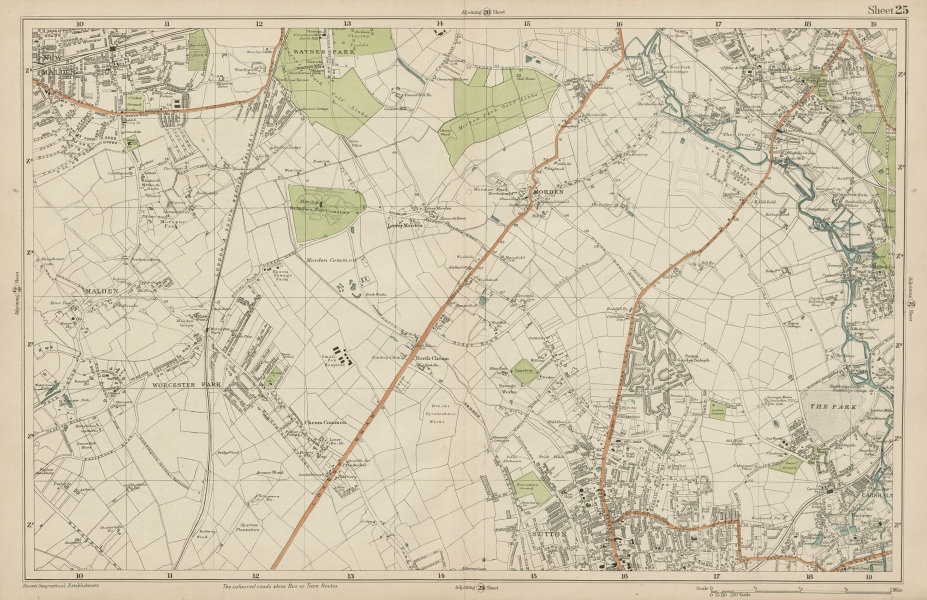 Associate Product SUTTON Carshalton Morden New Malden Worcester Pk Mitcham Cheam. BACON  1919 map