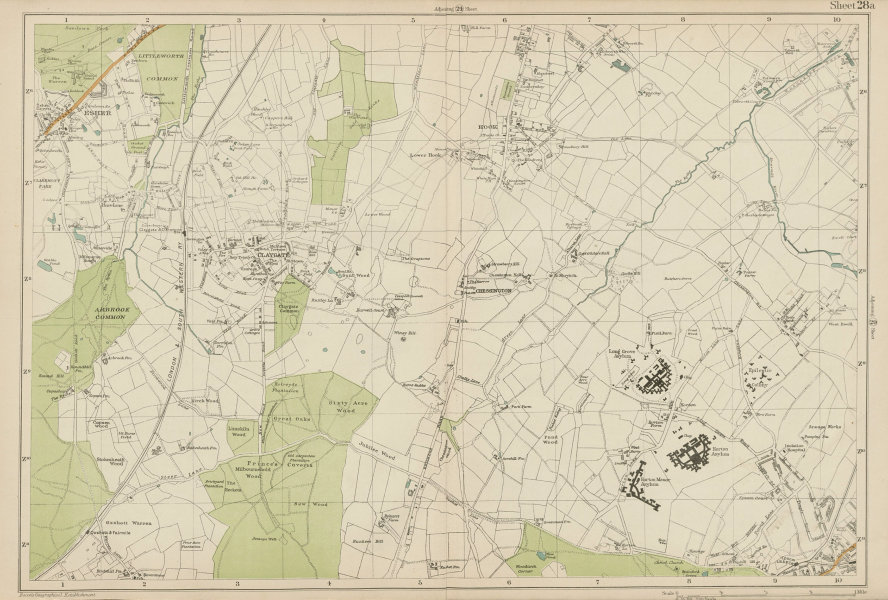 Associate Product ESHER/EWELL Epsom Claygate Oxshott Hook Chessington Hinchley Wood.BACON 1919 map