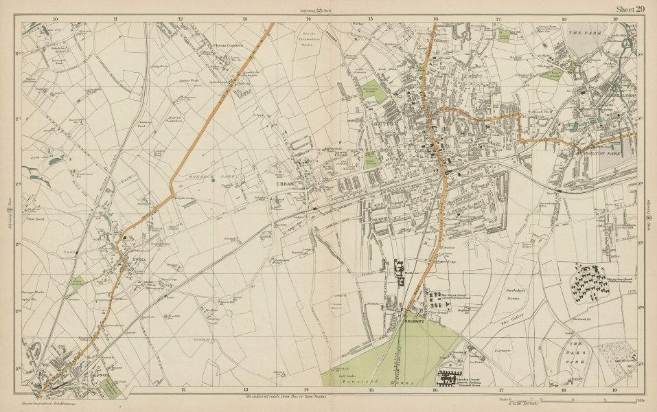 Associate Product SUTTON Cheam Epsom Belmont Carshalton Ewell Banstead Downs. BACON  1919 map