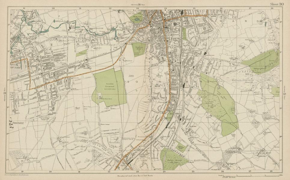Associate Product SOUTH CROYDON Carshalton Wallington Waddon Beddington Purley. BACON  1919 map