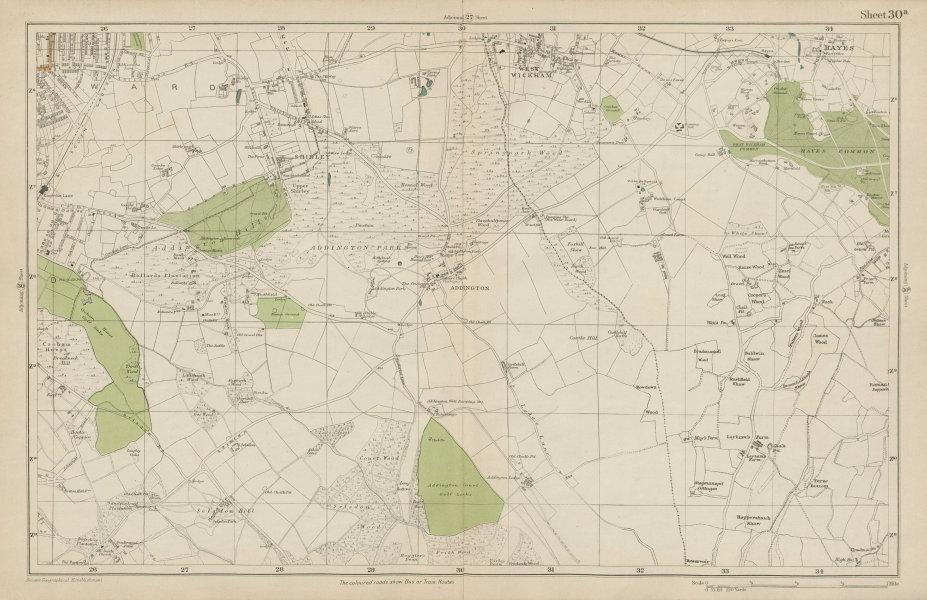 Associate Product EAST CROYDON Selsdon West Wickham New Addington Hayes Shirley. BACON 1919 map